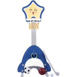 CHWRAR SIYDEARS 4 In 1 Adjustable Basketball Hoop Stand w/ Basketball/Ring Toss/Soccer/Goal in Blue, Size 64.9 H x 18.0 W x 10.0 D in   Wayfair found on Bargain Bro Philippines from Wayfair for $74.99