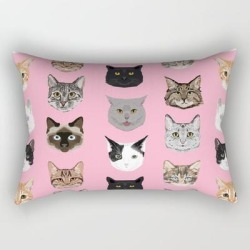 Rectangular Pillow | Cute Cat Breed Faces Smiling Kitten Must Have Gifts For Cat Lady Cat Man Cat Lover Unique Pets by Petfriendly - Small (17