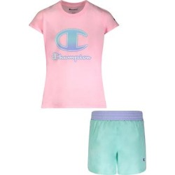 Champion Girls' Active Shorts PINK - Pink Candy Ombre 'C' Logo Short-Sleeve Tee & Blue Mist Shorts - Toddler & Girls found on Bargain Bro from zulily.com for USD $9.87