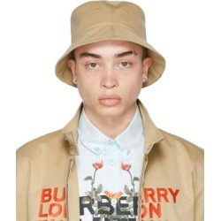 Reversible Beige Logo Bucket Hat - Natural - Burberry Hats found on Bargain Bro from lyst.com for USD $349.60