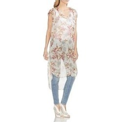 Vince Camuto Womens Tunic Top Sheer Floral - Pearl Ivory (XS), Women's, White Ivory(polyester) found on Bargain Bro India from Overstock for $11.81