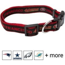 Pets First NFL Nylon Dog Collar, San Francisco 49ers, Medium: 10 to 16-in neck, 5/8-in wide found on Bargain Bro India from Chewy.com for $9.99