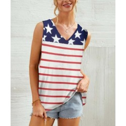 Camisa Women's Blouses Stripe - Navy & Red Star Stripe V-Neck Tank - Women found on Bargain Bro from zulily.com for USD $11.39