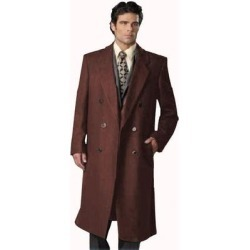 Men's 6 Button Dark Brown Fully Lined Long Coat By Alberto Nardoni Brand Designer (Dark Brown - 44L)(polyester) found on MODAPINS from Overstock for USD $170.00