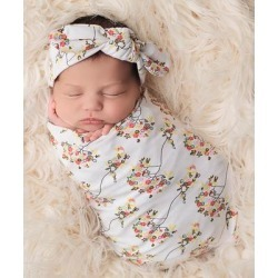 The Tiny Blessings Boutique Girls' Swaddle Blankets Multi - Ivory Floral Swaddle Blanket & Headband Set