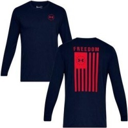 Under Armour Men's Athletic UA Freedom Flag T-Shirt Long Sleeve Tee 1333369 (Academy - 2XL)(cotton) found on Bargain Bro Philippines from Overstock for $28.62