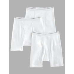 Men's John Blair® Cotton Knit Boxer Briefs 3-Pack, White 4XL found on Bargain Bro from Blair.com for USD $19.75