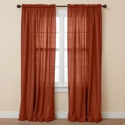 Wide Width Poly Cotton Canvas Rod-Pocket Panel by BrylaneHome in Terracotta (Size 48