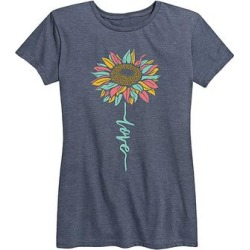Instant Message Women's Women's Tee Shirts HEATHER - Heather Blue 'Love' Sunflower Relaxed-Fit Tee - Women & Plus found on Bargain Bro India from zulily.com for $14.99