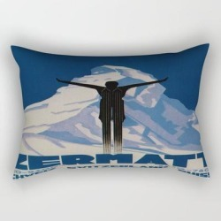 Rectangular Pillow | Vintage Zermatt Switzerland Travel by Yesteryears - Small (17