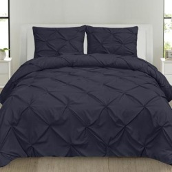 Porch & Den Chinook Luxury Pinch Pleat Pintuck 4-piece Duvet Cover Set found on Bargain Bro from Overstock for USD $45.50