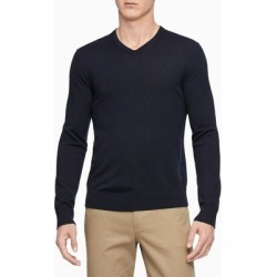 Calvin Klein Mens Sweater Blue Size Small S V-Neck Wool Pullover Solid (S), Men's found on Bargain Bro Philippines from Overstock for $55.98