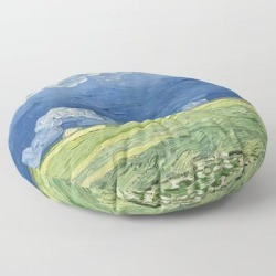 Floor Pillow   Vincent Van Gogh - Wheatfield Under Thunderclouds by Elegant Chaos Gallery - ROUND - 30