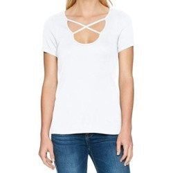 petite Splendid Womens Top White Size XS Knit Crossover Scoop Neck Stretch, Women's found on Bargain Bro from Overstock for USD $24.30