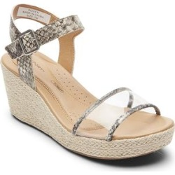 Rockport Women's Sandals Lyla - White & Taupe Snake-Embossed Lyla Leather Wedge Sandal - Women found on Bargain Bro India from zulily.com for $22.13