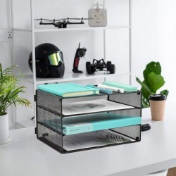 Inbox Zero Paper Organizer Tray, 3 Tier Mesh Desk File Organizer Letter Sorter Holder For Home Office in Black, Size 7.6 H x 12.9 W x 9.0 D in found on Bargain Bro Philippines from Wayfair for $82.99
