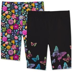 Sunshine Swing Girls' Casual Shorts - Black & Pink Butterfly Bike Shorts Set - Girls found on Bargain Bro from zulily.com for USD $12.91