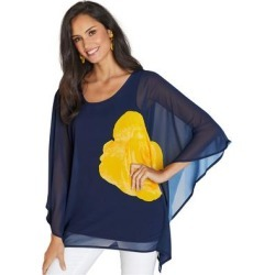 Floral Chiffon Poncho (Size L) Navy-Yellow, Polyester,Spandex,Viscose found on Bargain Bro Philippines from ShoeMall.com for $34.95