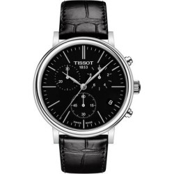 Carson Premium Chronograph Leather Strap Watch - Black - Tissot Watches found on Bargain Bro India from lyst.com for $415.00