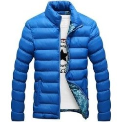 Man Down Coat Slim Warm Cotton Coat Colorful Blue M (XXL), Men's found on MODAPINS from Overstock for USD $48.11