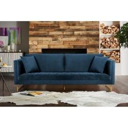 Lenox Velvet Modern Sofa with Brass Legs (Grey), Gray, Armen Living found on Bargain Bro from Overstock for USD $1,273.37