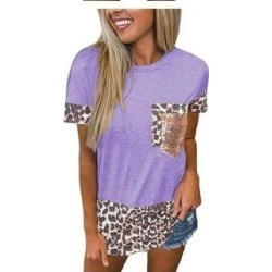 petite Leopard Print Basics Shirt & Blouses (Purple - XS), Women's found on Bargain Bro Philippines from Overstock for $32.19