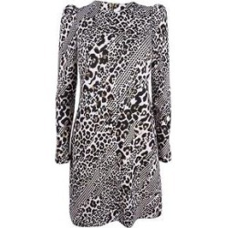 Calvin Klein Women's Printed Puff-Sleeve Scuba Dress - Camel Multi (4)(polyester) found on Bargain Bro Philippines from Overstock for $64.99