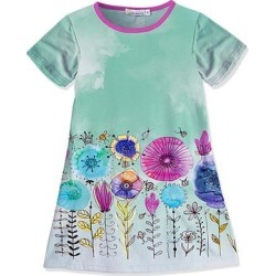 Sunshine Swing Girls' Casual Dresses - Green Floral Watercolor Shift Dress - Girls found on Bargain Bro Philippines from zulily.com for $13.79