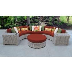 Coast 6 Piece Outdoor Wicker Patio Furniture Set 06c in Terracotta - TK Classics Coast-06C-Terracotta