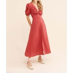 Glamorous Women's Maxi Dresses FADED - Faded Red Puff-Sleeve Knot-Front Maxi Dress - Women found on MODAPINS from zulily.com for USD $32.99