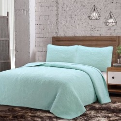 Estate Collection Savannah Quilt Set by American Home Fashion in Seafoam (Size FL/QUE)