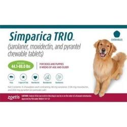 Simparica Trio For Dogs 44.1-88 Lbs (Green) 3 Chews found on Bargain Bro Philippines from Canadapetcare.com for $77.76