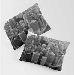 King Size Pillow Sham | New York, Nyc, Black & White (manhattan, Brooklyn, Queens) by Zado - STANDARD SET OF 2 - Cotton - Society6 found on Bargain Bro from Society6 for USD $30.39
