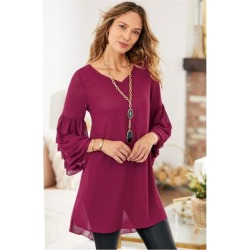 Women's Le Manoir Tunic Top & Cami by Soft Surroundings, in Burgundy size XS (2-4)