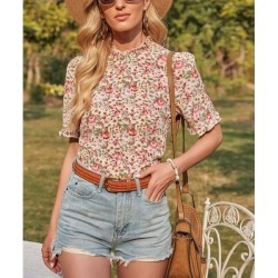 Camisa Women's Blouses Pink - Pink Floral Mock Neck Top - Women found on Bargain Bro from zulily.com for USD $15.19