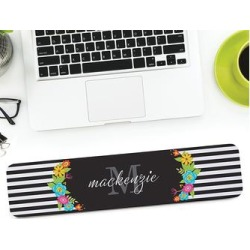 Personalized Planet Mouse Pads BLACK/WHITE - Black & White Floral Stripes Personalized Wrist Pad found on Bargain Bro Philippines from zulily.com for $16.99