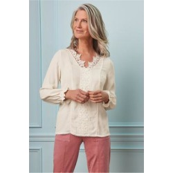Women's Jessamine Shirt by Soft Surroundings, in Ecru size XS (2-4)