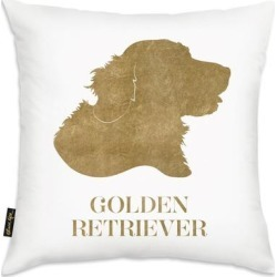 Oliver Gal 'Gold Golden Retriever- Square' Decorative Throw Pillow, Oliver Gal Artist Co.(Microfiber, Graphic Print) found on Bargain Bro from Overstock for USD $36.17