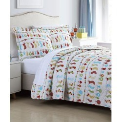 Spirit Linen Home Quilt Sets Colorful - White & Red Colorful Christmas Holiday Oversize Stitched Quilt Set found on Bargain Bro Philippines from zulily.com for $29.99