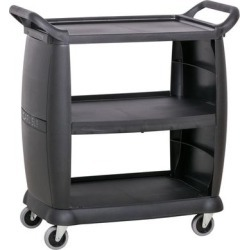 Carlisle CC203603 3 Shelf Black Utility / Bus Cart 300 lb. Capacity found on Bargain Bro India from webstaurantstore.com for $149.99