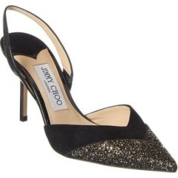 Jimmy Choo Thia Suede Slingback Pump (37.5), Women's, Black found on MODAPINS from Overstock for USD $637.99