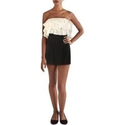 Alexis Womens Mini Dress Knit Strapless - Black-Ivory (L), Women's, BlackIvory found on MODAPINS from Overstock for USD $59.94