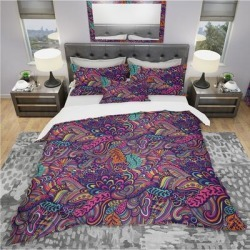 Designart 'Texture with Abstract Flowers' Bohemian & Eclectic Bedding Set - Duvet Cover & Shams (Full/Queen Cover +2 Shams (comforter not included)), found on Bargain Bro India from Overstock for $120.59