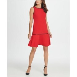 DKNY Red Sleeveless Above The Knee Dress 6 (Red - 6), Women's(knit, check) found on Bargain Bro from Overstock for USD $20.50