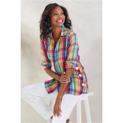 Women Kona Shores Shirt by Soft Surroundings, in Multi Plaid size 1X (18-20)