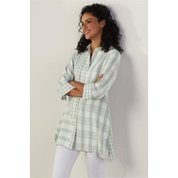 Women's Huntleigh Shirt by Soft Surroundings, in Silver Sage/Ivory size XS (2-4)