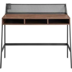 Walker Edison Desks Black - Dark Walnut & Black Finish Mesh-Back Writing Desk found on Bargain Bro from zulily.com for USD $123.87