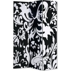 3 Panel Foldable Room Divider with Filigree Design, Black and White - 72 H x 2 W x 48 L Inches found on Bargain Bro Philippines from Overstock for $993.13