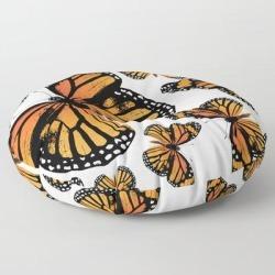 "Floor Pillow | Monarch Butterflies | Monarch Butterfly | Vintage Butterflies | Butterfly Patterns | by Eclectic At Heart - ROUND - 30"" x 30"" - Society6"