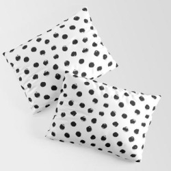 King Size Pillow Sham | Polka Dots Black And White by Inklola - STANDARD SET OF 2 - Cotton - Society6 found on Bargain Bro from Society6 for USD $30.39